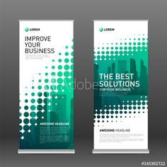 Industrial roll up banner design template. Abstract halftone effect with colored cityscape vector illustration on background. Pull Up Banner Design, Bunting Design, Pop Up Banner, Banner Backdrop, Packaging Design Inspiration, Layout Inspiration, Rollup Design, Roller Banners, Exhibition Banners