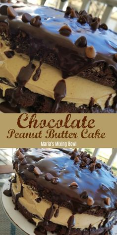 You're going to love this Chocolate Peanut Butter Cake! It's a rich chocolate cake with a thick creamy peanut butter filling topped with chocolate ganache and chips. Does it get any better than that? Peanut Butter Filling, Creamy Peanut Butter, Chocolate Peanut Butter, Chocolate Peanutbutter Cake, Chocolate Pudding Cake, Chocolate Desserts, Chocolate Ganache, Chocolate Filling, Delicious Chocolate