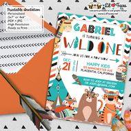 Wild one First Birthday Party photo invitations DIY Tribal Invitations Woodland printable Birthday invite adventure boho teepee Invitations