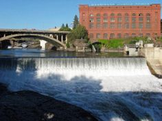 Spokane with its lovely downtown park which is great for families and has superb views of the Spokane River here running at about half strength or less.