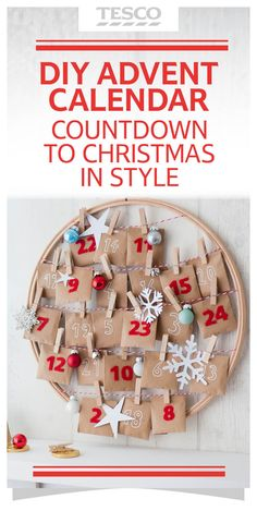 Easy-to-make DIY Christmas Advent Calendar using an embroidery hoop. It can also work on photo frames, mirrors and pinboards. It's reusable, too!