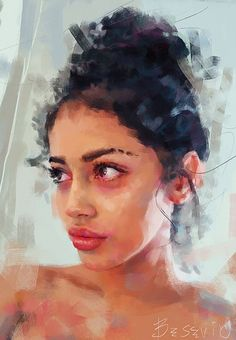 """Cindy"" - Ivana Besevic {figurative art beautiful female head eyebrows lips woman face portrait digital painting #loveart #2good2btrue}"
