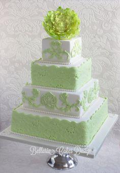 Pale Mint Green Lace Cake