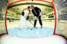 Great Wedding Pic for a hockey couple!