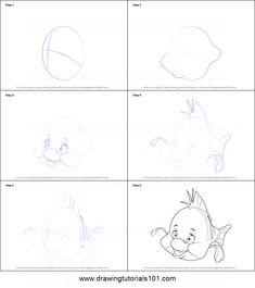 How to Draw Flounder from The Little Mermaid step by step printable drawing sheet to print. Learn How to Draw Flounder from The Little Mermaid Disney Drawing Tutorial, Drawing Tutorials For Kids, Sketches Tutorial, Baby Cartoon Drawing, Cartoon Drawings, Easy Drawings, Disney Sketches, Disney Drawings, Little Mermaid Characters