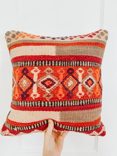 One-of-a-kind Moroccan kilim pillow made from vintage rugs. This is the perfect addition to your simple and classic bedroom or living room. A touch of color that will help you renovate your house without spending a lot. Lucky Collective Textile #LuckyCollective #Kilim #ThrowPillow