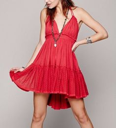 3863-New-Free-People-100-Degree-Red-Gauze-Dotted-Mesh-Mini-Halter-Dress-XS