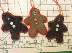 3 Handcrafted Wool Brown Gingerbread Men Ornaments Christmas Felted Upcycled Recycled Home Decor Gift by TheRoyaleRagbag on Etsy