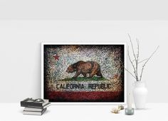 Flag of California Republic. Hand painted Flag art.