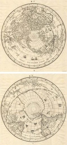 Antique #map of #World by Habrecht  free printable: