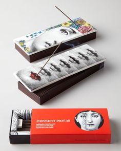 Haute hippies will delight in the packaging as well as the fragrance: Fornasetti Incense Box via Bergdorf Goodman