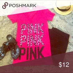SALE🛍PINK V-Neck Tee Excellent condition - accessories not included - runs a little big PINK Victoria's Secret Tops Tees - Short Sleeve