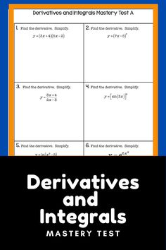 Calculus End of Year Mastery Test Derivatives and Integrals End Of Year, Calculus, High School, Classroom, Student, This Or That Questions, Math, Class Room, Math Resources