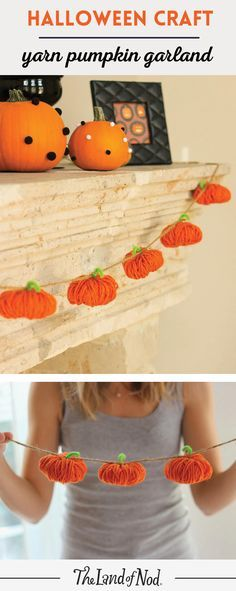 Our quick and easy Halloween craft will teach you how to make a DIY yarn pumpkin garland. So cute and so easy!!