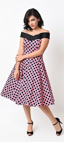 1950s Style Black & Pink Dot Strawberry Shake Swing Dress