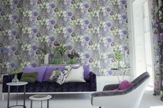A large floral design with various flowers including poppies, roses, clematis and hydrangea's. Shown here in white, purple, blue and green on a grey background. Please request a sample for a true colour match. Pattern repeat 72cm. Designers Guild Wallpaper, Fabric Covered Walls, Wall Candy, Grey Wallpaper, Bedroom Wallpaper, Glass Floor, Interior Decorating, Interior Design, Pantone Color