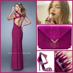 La Femme 20555 ~ stunning ~ open back ~ long prom dress ~ magenta prom dress ~ chic ~ jersey gown ~ beaded lace ~ cap sleeves ~ prom look ~ pageant ~ evening gown ~ bold lip ~