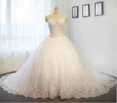 New wedding dress lace up back A line