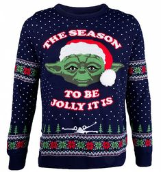 yoda christmas jumper. This tribute to the Jedi Master, Yoda is a perfect way for Star Wars fans to welcome the festive season! Featuring the popular character alongside the slogan 'The season to be jolly it is' in a granny-style, knitted, fair isle design.
