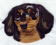 Dachshund Head - Longhair design (I1226) from www.Emblibrary.com
