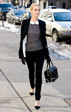 Classic black and white winter look