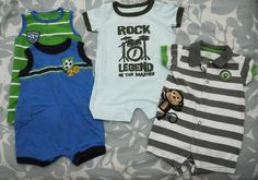 Four Baby Boy Rompers 0-3 Carters #Swapdom