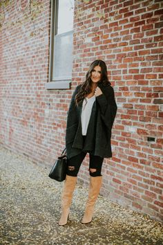 cozy style, cocoon cardigan, black cardigan, cozy cardigan, white topshop camisole, sam edelman over the knee boots, brown over the knee boots, winter style, chicwish cardigan, winter fashion, southern fashion blogger, cute fall outfit, fall style // grace wainwright a southern drawl