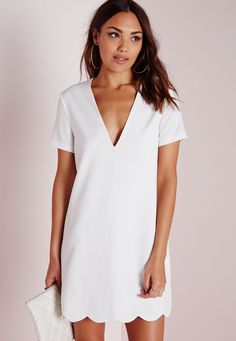 Missguided - Crepe Cap Sleeve Scallop Hem Shift Dress White