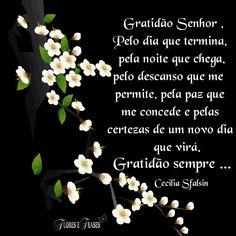 Flores e frases: GRATIDÃO SENHOR...