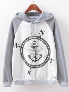 Women Compass Printed Long Sleeve Cotton Hooded Sweatshirt