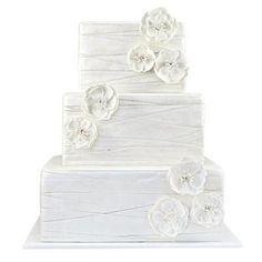 Wedding Cakes: White fabric and flower wedding cake