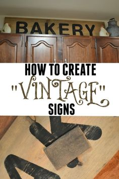 How to create vintage signs using homemade stain. This only cost around $20 to make.
