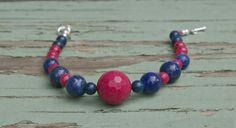 Navy Pink  Bracelet Beaded  Lapis Fuschia Blue by FiorellaJewelry