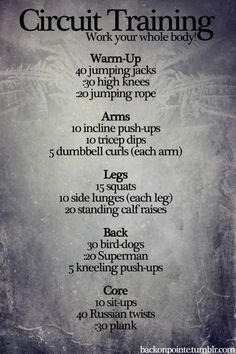 Circuit training. Whole body workout.