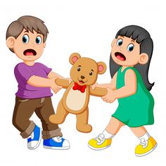 Girl and boy fighting over a doll vector image on VectorStock Brother And Sister Fight, Kindergarten Portfolio, Art Drawings For Kids, Classroom Rules, Kids Behavior, Learning Through Play, Preschool Worksheets, Kids Prints, Kids Education