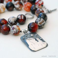Santorini Silver Moonlight and Botswana agate Beads Necklace @GreekMythos @piscesandfishes