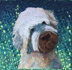 Barney by Rosemary Burris.  Fabric collage. Rosemaryburris.com