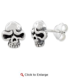 $19.99 * Sterling Silver Angry #SkullEarrings