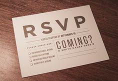 Tim & Kylene Wedding Invitations by Tim Lautensack, via Behance: Their RSVP copy had original, witty copy.