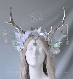 Ice Blue and Silver Winter Faun Fairy Headdress – Fancy Fairy Wings & Things