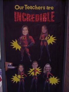 Appreciation – 7 Decorate a Door Ideas I want to do this on the staff room door next year and use my Pixar Cricut Cartridge.I want to do this on the staff room door next year and use my Pixar Cricut Cartridge. Superhero School, Superhero Teacher, Superhero Classroom Theme, Classroom Themes, Superhero Door, Holiday Classrooms, Classroom Door, Future Classroom, School Themes