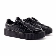 6fd571ca5b6 PUMA BY RIHANNA CREEPER CRACKED BLACK LEATHER 364641-01 SZ US M 10 UK 9