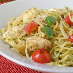 "Pesto Pasta with Chicken | ""Loved this! Was very easy and my family really enjoyed it. I added asparagus and served it with a salad and it was delicious."""