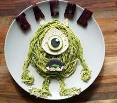 food art / kids food art / food decoration / noodles, disney food art/ monster inc Cute Snacks, Cute Food, Good Food, Comida Disney, Disney Food, Disney Disney, Food Art For Kids, Cooking With Kids, Art Kids