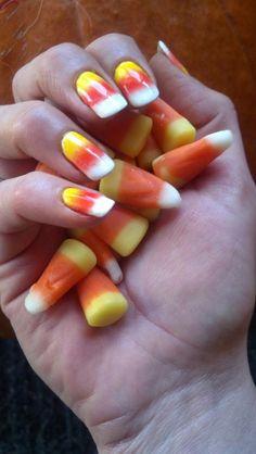 Candy corn cnd shellac nails using cnd additives. By Mechele