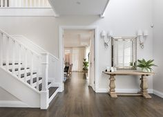 Warm, inviting and perfect for a busy family, this elegant home brings a softer touch to classic Hamptons styling. Hamptons Style Homes, Hamptons Decor, The Hamptons, Elegant Home Decor, Elegant Homes, Style At Home, Dark Timber Flooring, Timber Staircase, Stairs