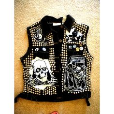 Custom Punk Vest, Raw Power/Favorite Artists Punk Vest Example ($180) ❤ liked on Polyvore