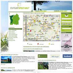 Internetseite Golfportal stuttgart-spielt-golf.de / Leistungen: Konzeption, Webdesign, Technische Umsetzung / Techniken: TYPO3, PHP, Javascript, mootools, XHTML, CSS, Geolocation