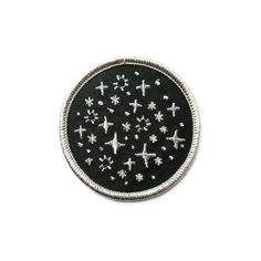 Do you ever stay up late and stare out the window and you know there are probably stars there..just knowing they're there is comforting. Embroidered patch with a night sky illustration in silver thread.