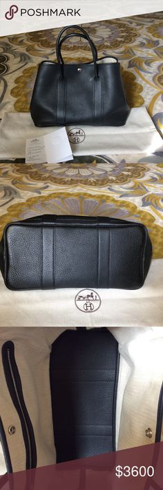 Hermes Garden Party 36 Hermes Garden Party 36 in black negonda leather with chevron canvas lining. Silver and palladium plated clou de seller snap closure. Purchased in 2015. Perfect condition. No marks/ stains. Comes with dust bag, copy of original receipt. Hermes Bags Totes